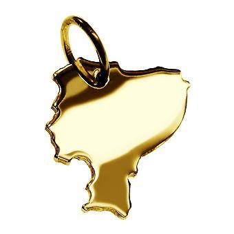 Släpvagn karta hängsmycken i guld gul-guld i form av ECUADOR