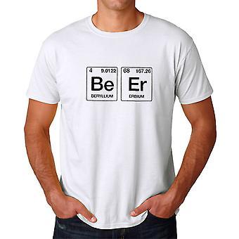 Weiße lustige Geek Periodensystem Bier Grafik Herren T-shirt