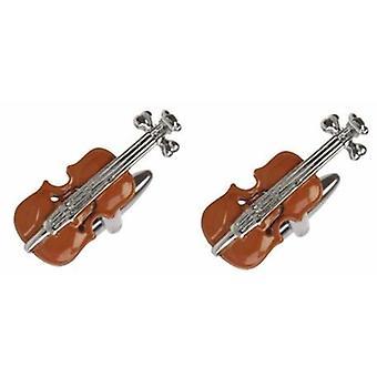David Van Hagen viool Manchetknopen - rood/zilver