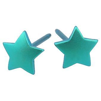 Ti2 titaani Geometrinen Star korvakoruja - Kingfisher sininen
