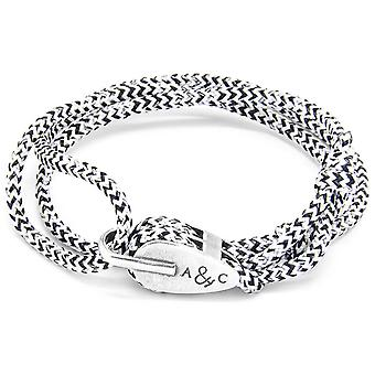 Anchor and Crew Tyne Silver and Rope Bracelet - White Noir