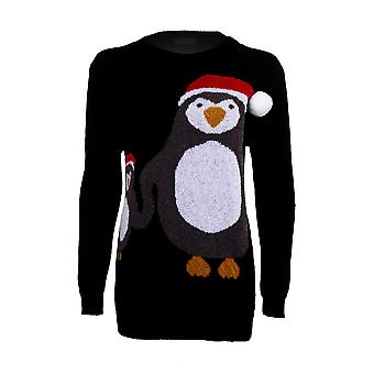 Women's Christmas Pom Pom matka noworodek Pingwin uroczysty długi rękaw ciepły sweter zimowy