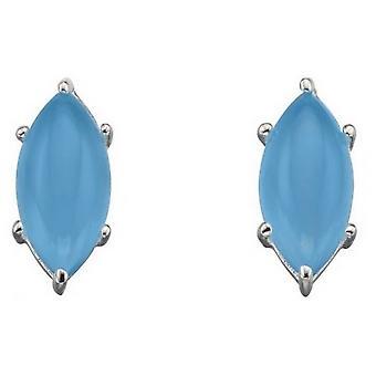 Elemente Silber Marquise Cab Ohrringe - Blau/Silber