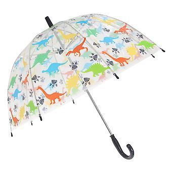 X-ombrello per bambini/bambini dinosauro trasparente a tema bastone ombrello