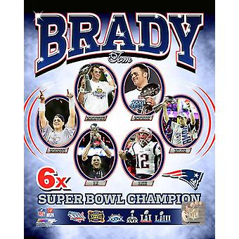 Tom Brady 6 kertaa Super Bowl mestari muotokuva Plus Photo Print