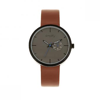 Simplify The 3900 Leather-Band Watch w/ Date - Brown