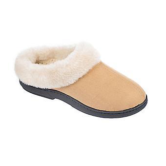 Coolers Womens Microsuede Faux Fur Slip-On Mule Slippers