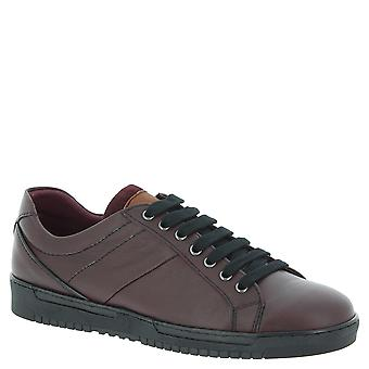 Nikolas men's sneakers in burgundy Calf leather with black rubber sole