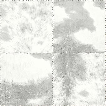 Animal Print Fell Effekt Fliesen Tapete Quadrate grau Metallic Arthouse-Hideaway