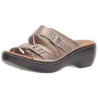 Clarks Womens Delana Liri couro aberto Toe Slide Casual sandálias