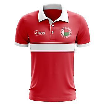 Madagaskar-Konzept-Streifen-Polo-Shirt (rot)