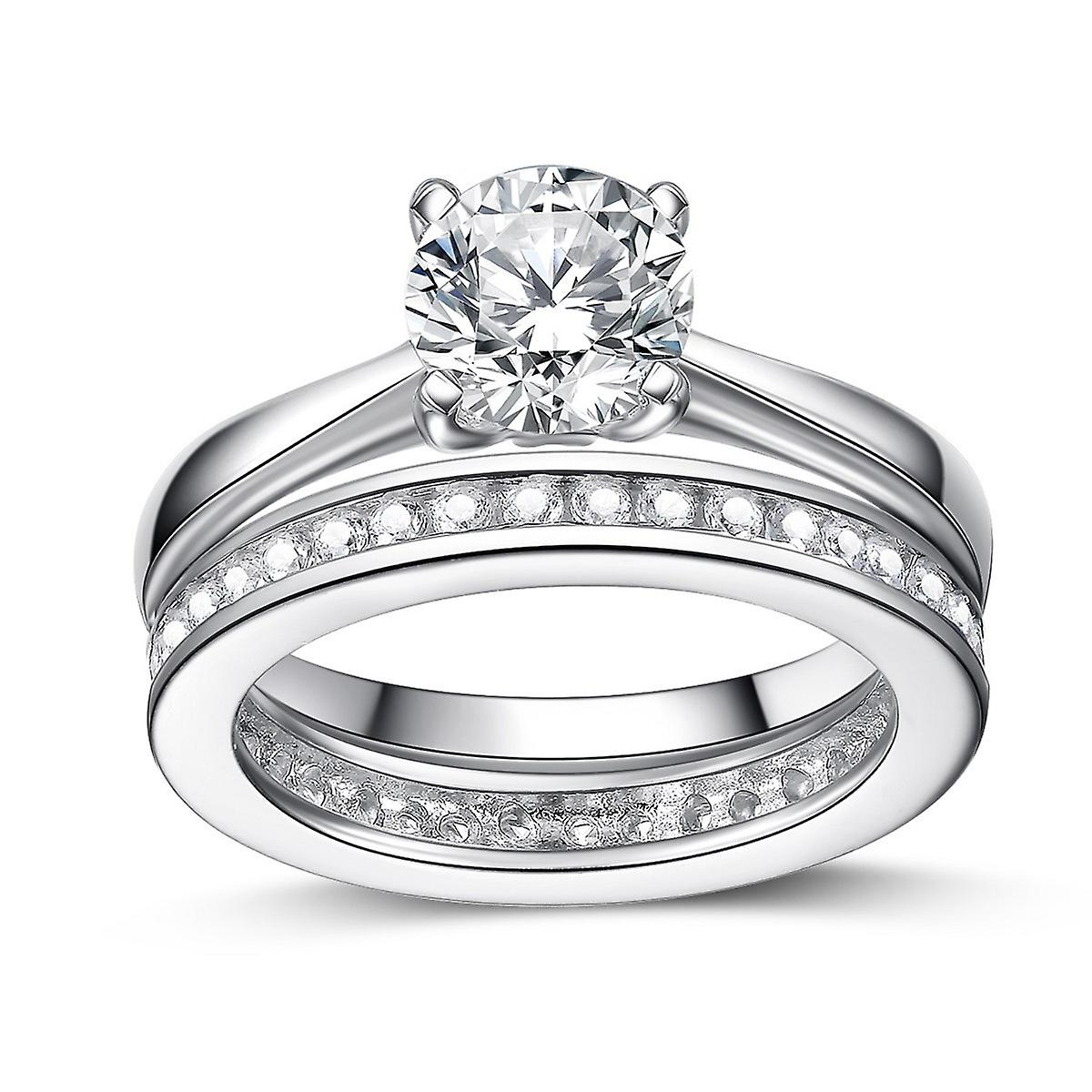925 Sterling Silver Brilliant Round Cut Engagement And Band Ring Set