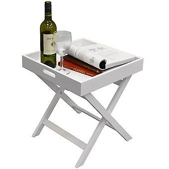 Dobra - dobradura lado superior bandeja de madeira / fim tabela / cabeceira / Laptop lanche bandeja - branco