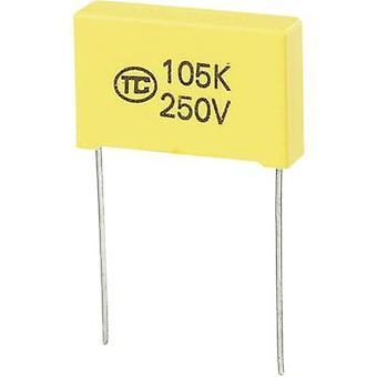 רכיבי טרו 1 pc (עם) חברי הכנסת הסרט דק קבל מוביל 1 μF 250 V DC 5% 22.5 mm (L x W x) 26.5 x 6 x 15 מ