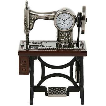 Miniature Old Fashioned Sewing Machine on Table Novelty Desktop Collectors Clock  0460