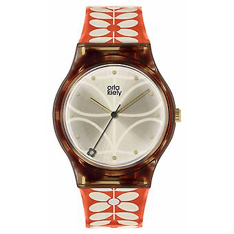 Orla Kiely-fr | Womens Bobby | Étui noir | 60 's tige impression sangle | OK2316 montre