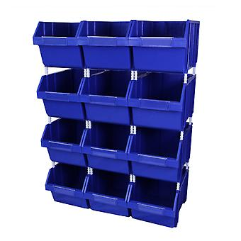 Parts Storage Bins Stackable Quick Pick Warehouse Garage 12 Strong Plastic Boxes