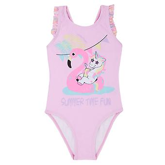 Girls pale pink flamingo swimming costume