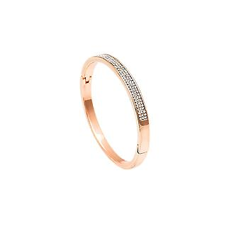 Belle et Beau Rose Gold Plaqué 3 Row Cubic Zirconia Bangle