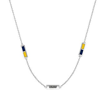 University Of Toledo Sterling Silver Engraved Triple Station Necklace In Blue and Yellow