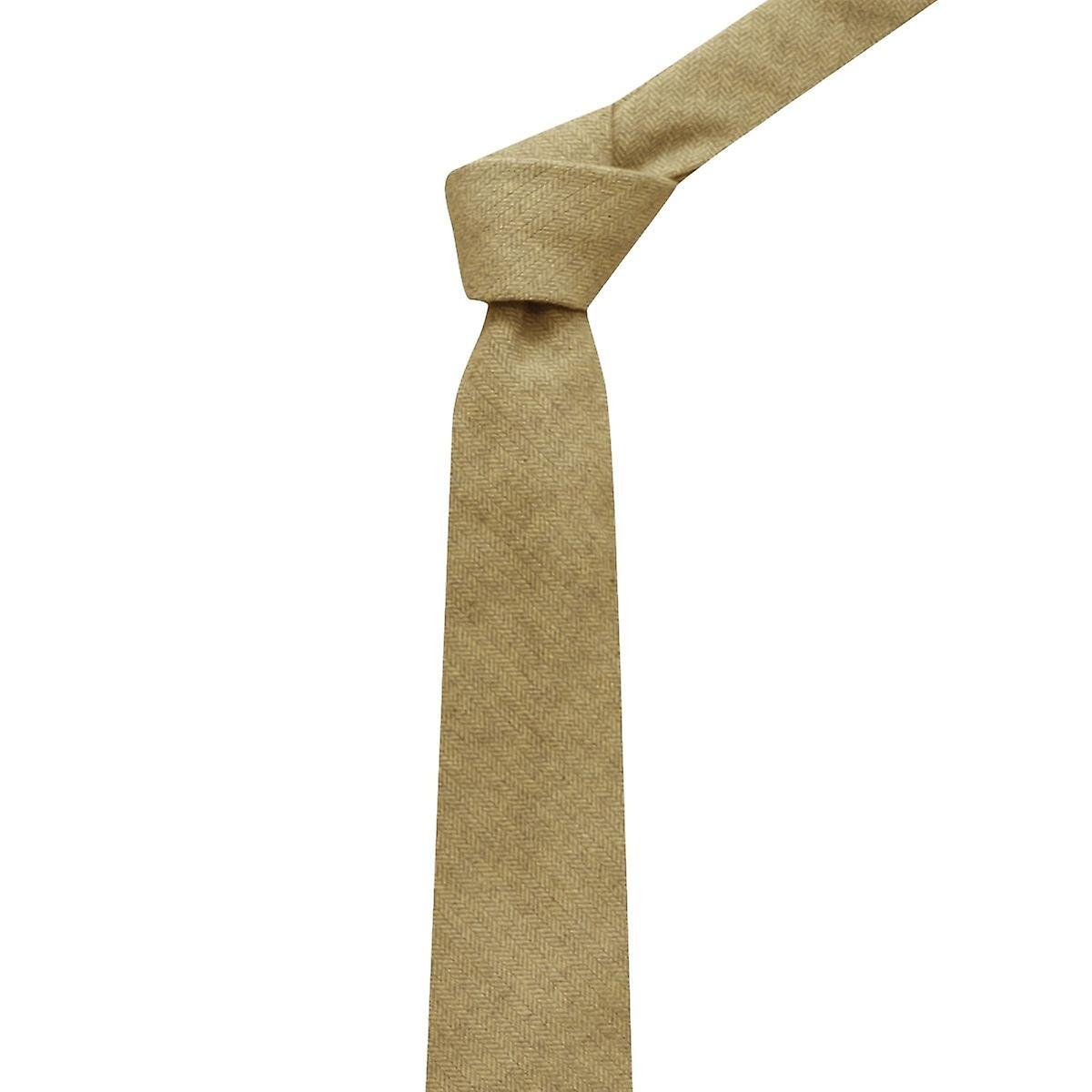 Golden Yellow Herringbone Tie, Sand, Necktie