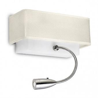 Led 2 Light Indoor Wall Light Beige, Satin Nickel With Reading Lamp