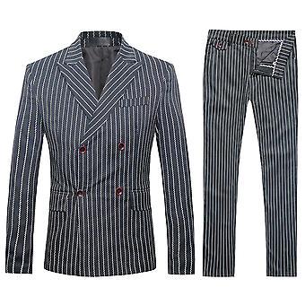 Allthemen menns 3 stk Silm Fit stripete tre stykker Suit (blazer & vest & bukser)