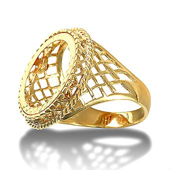Jewelco London Men's Solid 9ct Yellow Gold Rope Edge Basket Half Sovereign Mount Ring