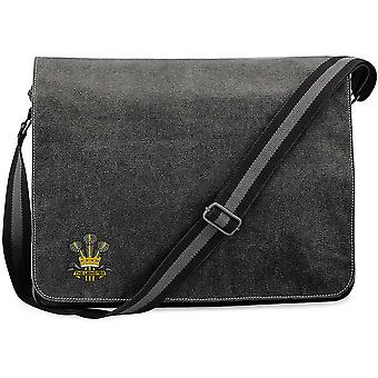 The Prince Of Wales Leinster Regiment - Licensed British Army Embroidered Vintage Canvas Despatch Messenger Bag