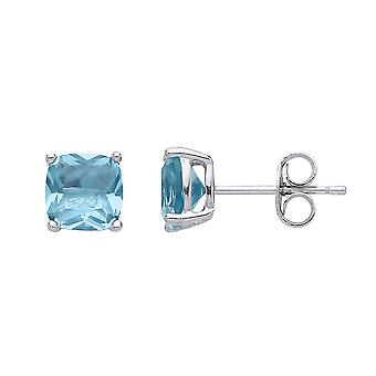 Jewelco London Ladies Rhodium Plaqué Sterling Silver Aqua Cushion Cubic zirconia Double Gallery Solitaire Stud Boucles d'oreilles