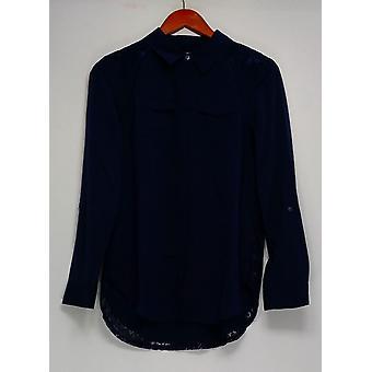 Isaac Mizrahi Live! Top vævet nytte bluse med blonder tilbage blå A287383