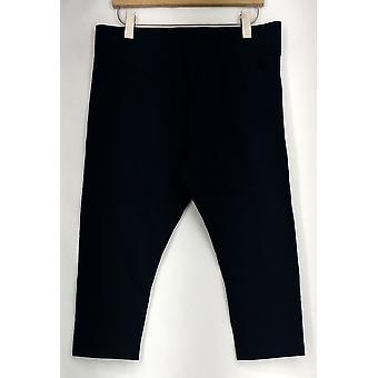 Pants Cottn Blend Cropped Pant Elastic Waist Navy Blue A259874