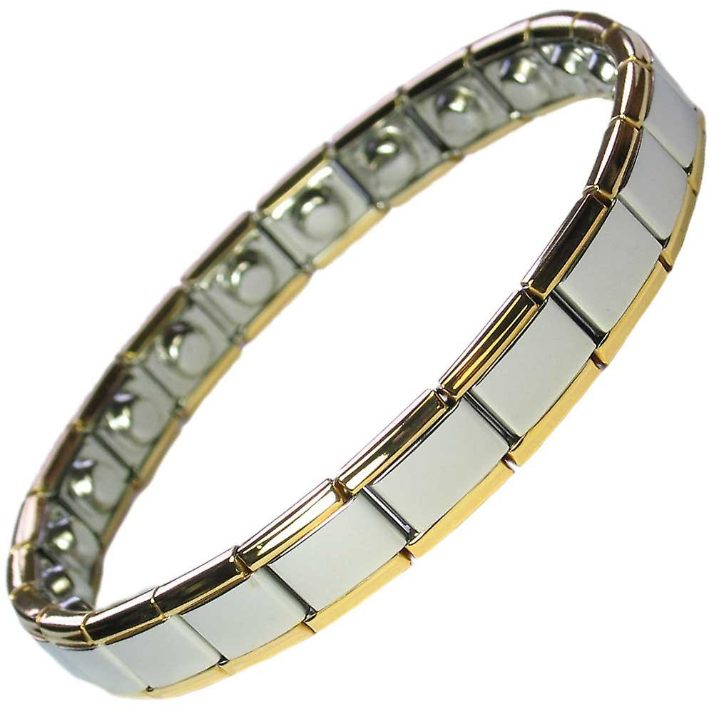MPS® PYTHON Narrow Expanding Magnetic Bracelet with Gold Edges (No Clasp)