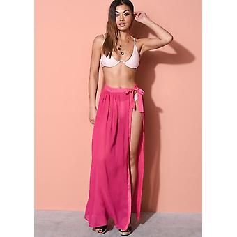 Cravatta Waist Cover Up Wrap Maxi Beach Gonna Fucsia Rosa