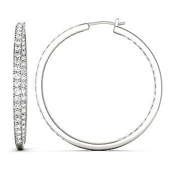 14K White Gold Moissanite by Charles & Colvard 2mm Round Hoop Earrings, 2.34cttw DEW