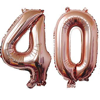 TRIXES Number 40 Foil Balloon For Birthdays Anniversaries  40 Inch Rose Gold