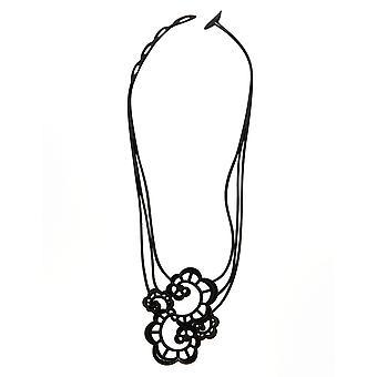 Batucada Skin Jewellery Black Japanese Flower Necklace 5-01-01-02-Black