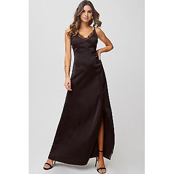 Little Mistress Hanna Black Satin Lace-Trim Maxi Dress