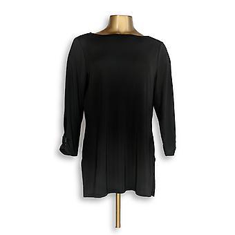 Susan Graver Women's Top Premier Knit w/ Split Sleeve Black A266806