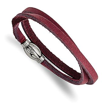 Stainless Steel Polished Purple Leather Wrap Bracelet Jewelry Gifts for Women