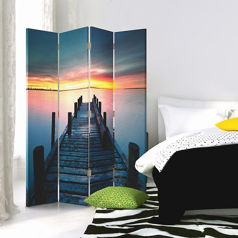 Diviseur de chambre, 4 panneaux, toile, plate-forme 2