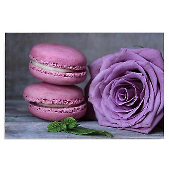 Canvas, Picture on canvas, macaroons and rose
