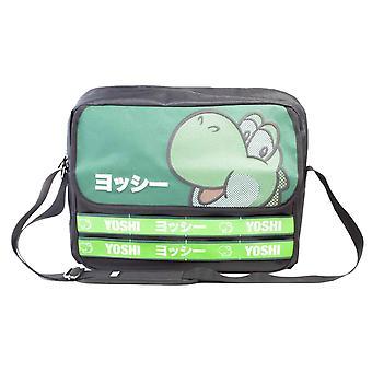 Super Mario Messenger Bag Yoshi Taped Japanese Logo new Official Nintendo Black