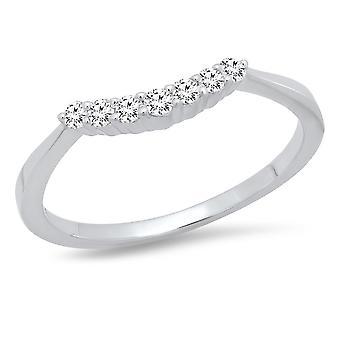 Dazzlingrock Collection 0.20 Carat (Ctw) 14K Round White Diamond Ladies 7 Stone Wedding Band 1/5 CT, White Gold