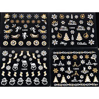 6pcs גיליונות קישוטי חג המולד תכשיטי כסף/זהב קישוטים