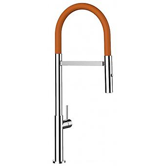 Single-lever Kitchen Sink Mixer With Orange Spout And 2 Jets Shower - 179