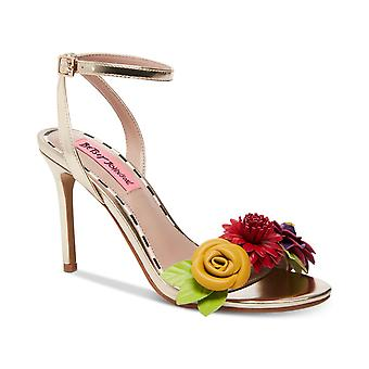Betsey Johnson Womens Fluer Fabric Open Toe Casual Ankle Strap Sandals