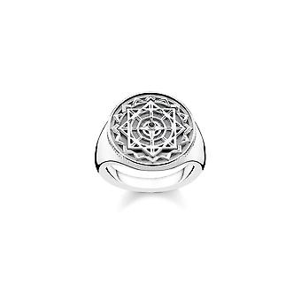 Thomas Sabo Sterling Silver Thomas Sabo Vintage Compass Diamond Signet Ring D_TR0041-714-11