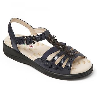 Padders Sunrise Ladies Leather Extra Wide (3e) Sandals Navy