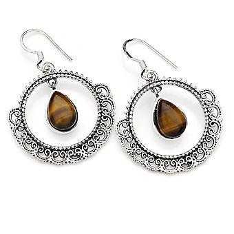 Orecchini orecchini argento 925 sterling argento tigre occhio marrone pietra (No: MOH 124-18)